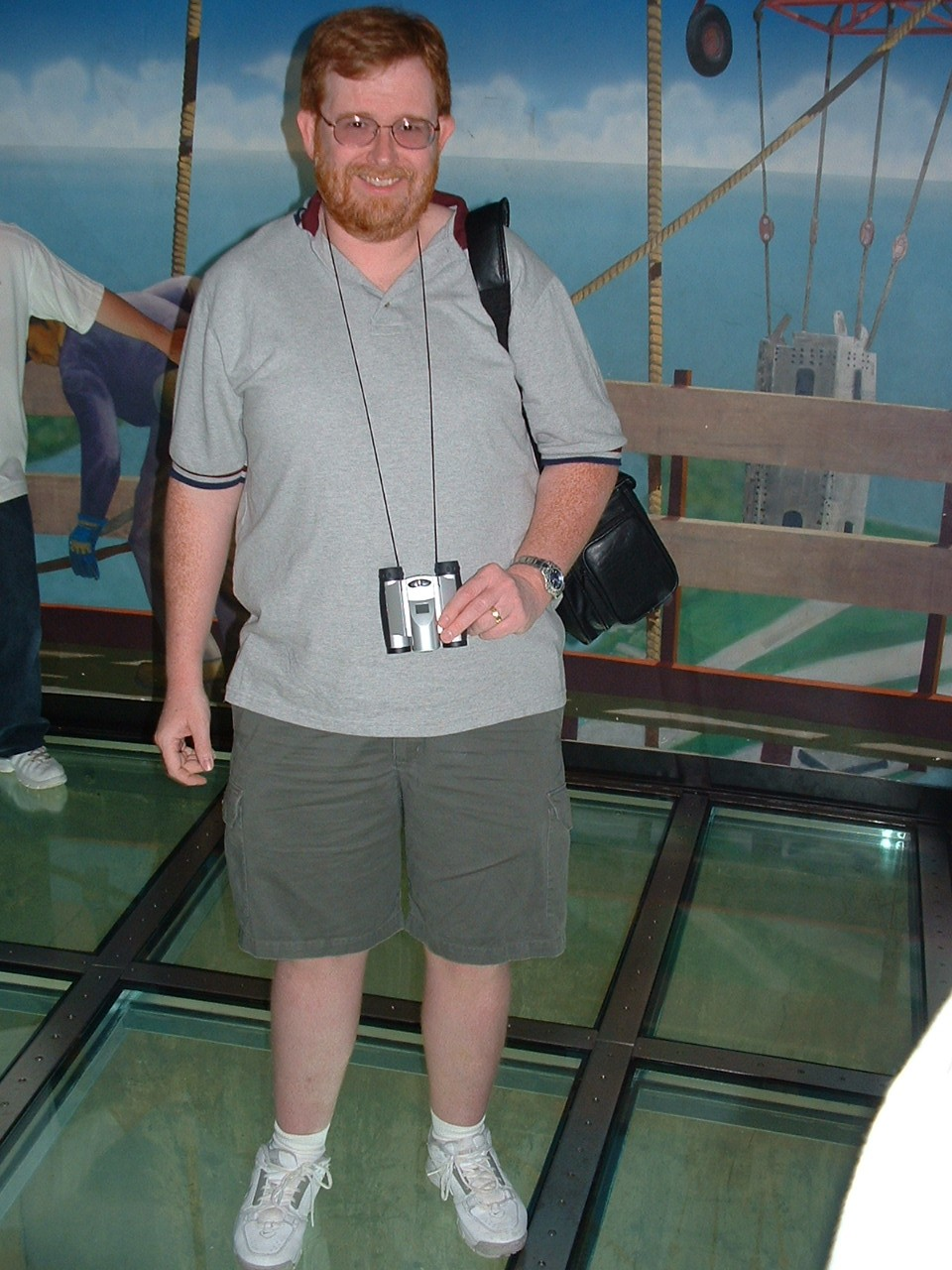 Tim on the glass floor of the CN Tower